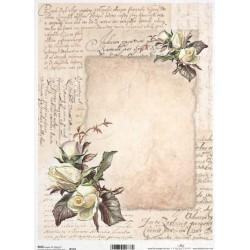 Papír rýžový A4 Staré dopisy a růže