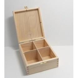 Dřevěná krabička na čaj - 4 komory, kování (obdélník)