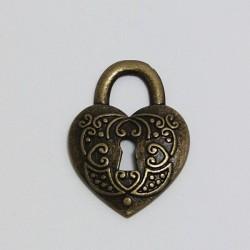 Přívěsek Zámek srdce 28x28mm, staromosaz