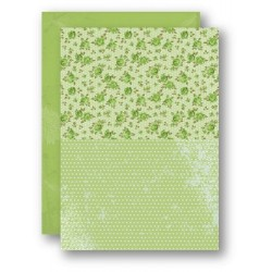 Papír na pozadí A4 - růžičky v zelené