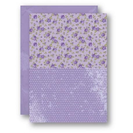 Papír na pozadí A4 - růžičky ve fialové