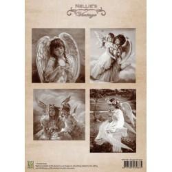 Nellie Vintage A4 - andělé s květinami