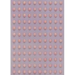 Kamínky perličky 3mm, samolepící růžové
