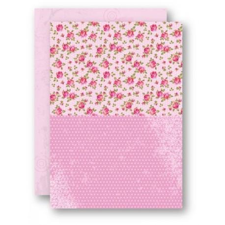 Papír na pozadí A4 - růžičky v růžové