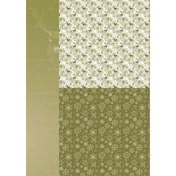Papír na pozadí A4 - vánoční v olivově zelené