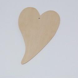 Srdce dřevěné k zavěšení - méně zahnuté, zaoblená špička