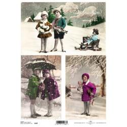 Papír soft A4 Vintage zimní s dětmi