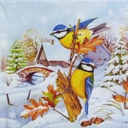 Zimní krajina a sýkorky 33x33