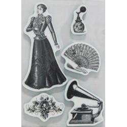 Razítko na pěnovce - Retro gramofon, vějíř 13x9,5cm