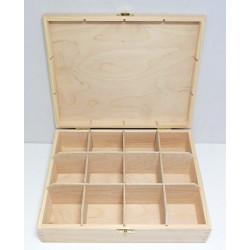 Krabička na čaj 12 komor (se zámečkem)
