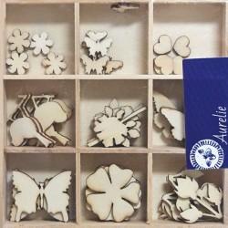 Dřevěné ozdoby Botanická zahrada, krabička 10,5x10,5cm