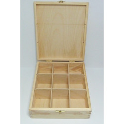 Krabička na čaj 9 komor (se zámečkem)