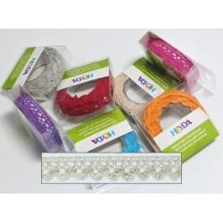 Textilní krajková páska samolepící - béžová