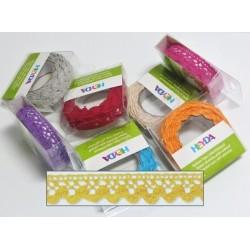 Textilní krajková páska samolepící - žlutá