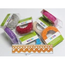 Textilní krajková páska samolepící - oranžová