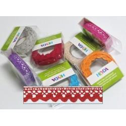 Textilní krajková páska samolepící - červená