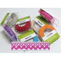 Textilní krajková páska samolepící - růžová