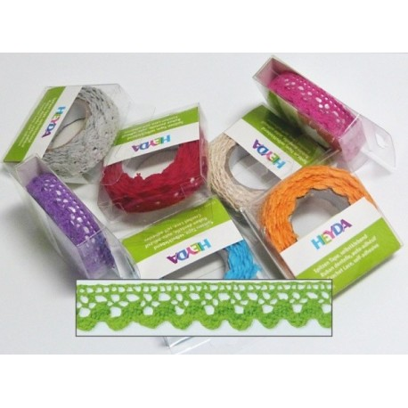Textilní krajková páska samolepící - zelená