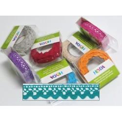 Textilní krajková páska samolepící - tyrkysová