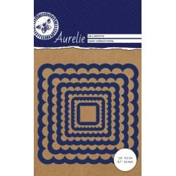 Vyřezávací šablony Aurelie - čtverce s vroubky 6ks
