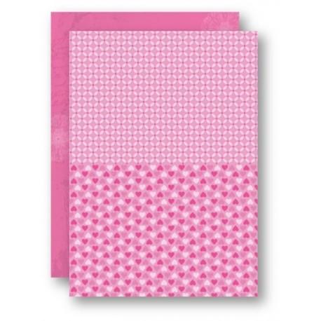 Papír na pozadí A4 - růžový se srdíčky