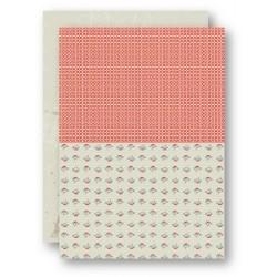 Papír na pozadí A4 - vintage růžičky, kroužky v lososové