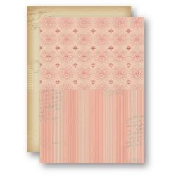 Papír na pozadí A4 - ornament a proužky, lososový