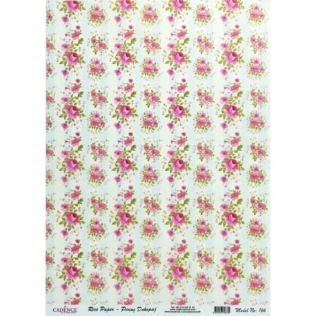 Rýžový papír A4 Růžičky v pruzích
