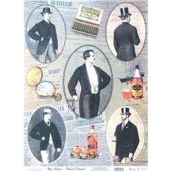Rýžový papír A3 Muži vintage