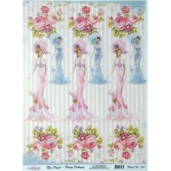 Rýžový papír A3 Dámy s růžemi
