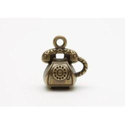Kovový přívěsek - telefon retro, staromosaz