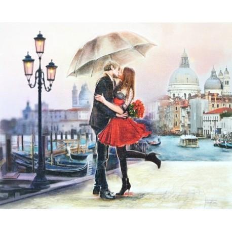 Reprodukce obrazu 24x30 - polibek v Benátkách