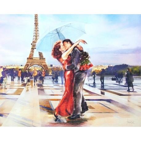 Reprodukce obrazu 24x30 - polibek v Paříži