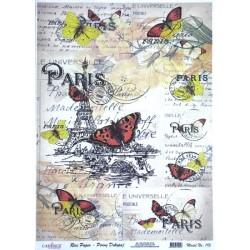 Rýžový papír A3 Paris a motýli