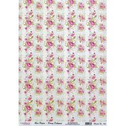 Rýžový papír A3 Růžičky v pruzích