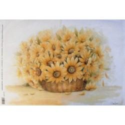 Papír rýžový 35x50 Květy ve váze - slunečnice (5214)