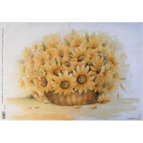 Papír rýžový 35x50 Květy ve váze - slunečnice