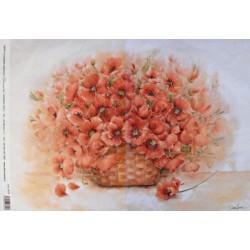 Papír rýžový 35x50 Květy ve váze - máky