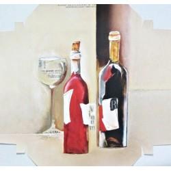 Reprodukce k natažení 20x20 - zátiší s vínem I