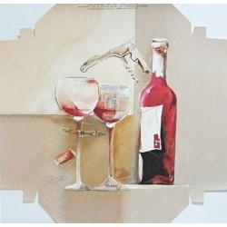 Reprodukce k natažení 20x20 - zátiší s vínem II