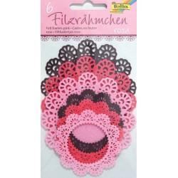 Filcové rámečky kulaté - růžové odstíny