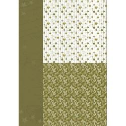 Papír na pozadí A4 - vánoční ozdoby v olivově zelené