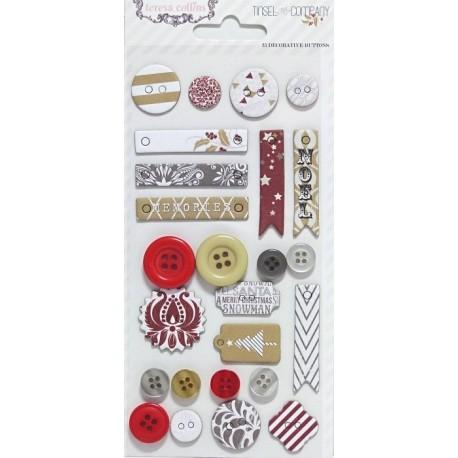 Scrapb.dekorace - knoflíčky, visačky - Vánoční