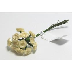 Kytice růžiček ze saténu 12ks žluté