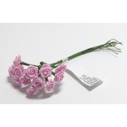 Kytice růžiček ze saténu 12ks sv.růžové