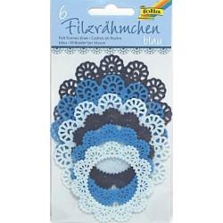Filcové rámečky kulaté - modré odstíny