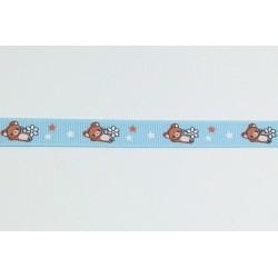 Rypsová stuha 12mm - medvídci, modrá