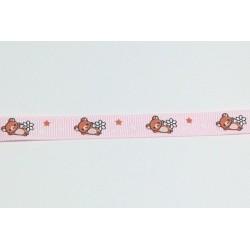 Rypsová stuha 12mm - medvídci, růžová