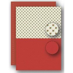 Papír na pozadí A4 - vánoční s cesmínou v červené