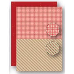 Papír na pozadí A4 - vánoční s proužky v červené